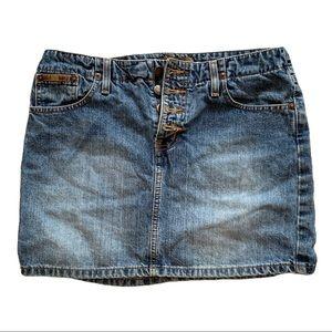 LEI button-fly denim jean skirt